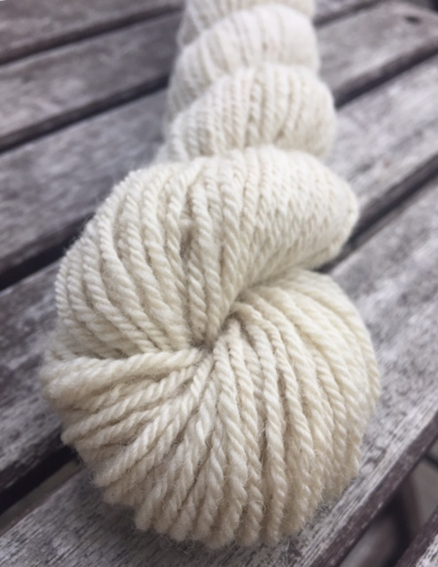 A skein of white yarn