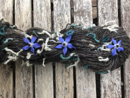 A skein of dark grey yarn. It has little coloured knots on it and blue flowers.
