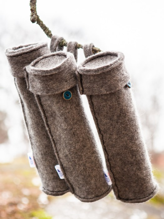 Three tubes made in felted wool.