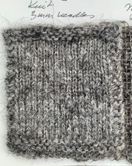 Knitted swatch of Gute yarn.