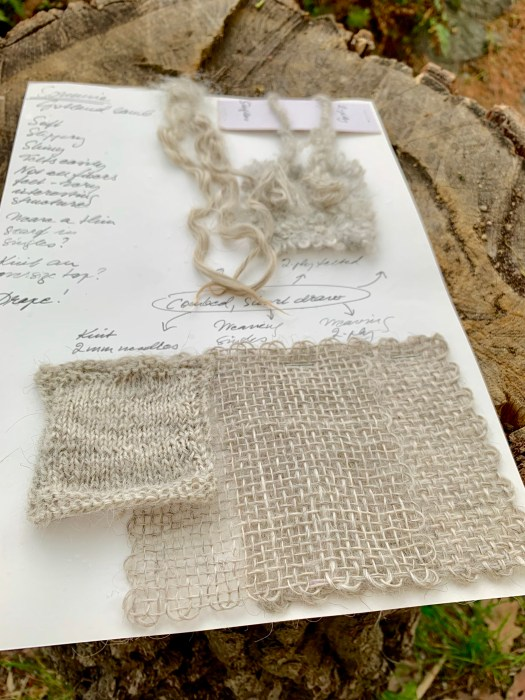 When I keep physical records of a fleece I make samples of a staple, singles, plies, weaving and knitting. Sometimes also a felted woven sample.