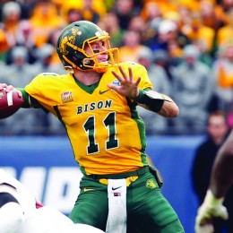 Jan 9, 2016; Frisco, TX, USA; North Dakota State Bison quarterback Carson Wentz (11) throws a pass in the third quarter against the Jacksonville State Gamecocks in the FCS Championship college football game at Toyota Stadium. North Dakota State won the championship 37-10. Mandatory Credit: Tim Heitman-USA TODAY Sports