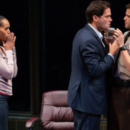 A scene from the play American Son, pictured above, depicts a biracial couple trying to locate their son after he was stopped by police.