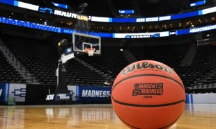 Mar 23, 2019; Salt Lake City, UT, USA; General overall view of Wilson official  NCAA basketball with the March Madness logo on the court during a second round game of the 2019 NCAA Tournament between the Baylor Bears and the Gonzaga Bulldogs at Vivint Smart Home Arena. Mandatory Credit: Kirby Lee-USA TODAY Sports
