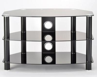 TTAP AVS-C303C-800-3BB Vantage 3-Shelf Glass TV Stand in Black and Black Glass, 800mm