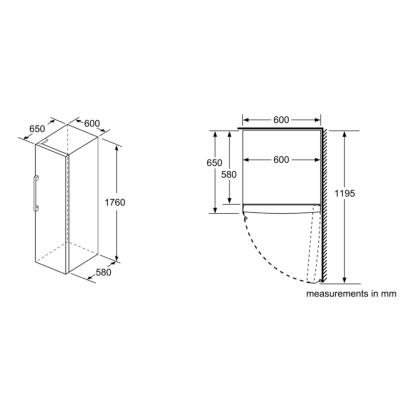 BOSCH GSN33VWEPG Serie 4 176x60cm 225L No Frost Freestanding Freezer – White