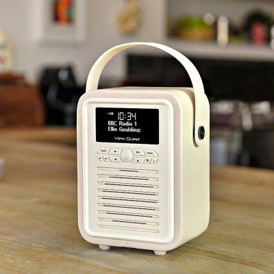 VQ Retro Mini DAB/FM Digital Bluetooth Radio – Cream