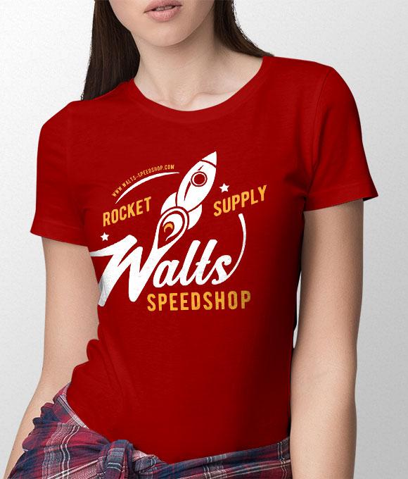 fc059b20 'Rocket Script' Women's T-Shirt - Red – Walt's Speedshop