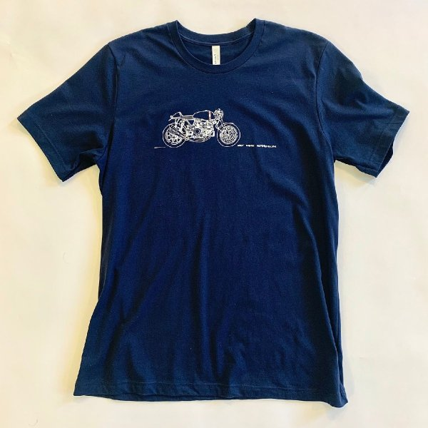 blue tee shirt with a drawing of a motorcycle in white