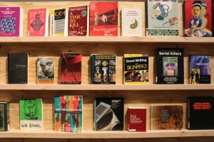 "A display of book covers on a wooden shelf representing a selection of disapproved books; titles include ""Grant Writing for Dummies,"" ""Trans Bodies, Trans Selves,"" and ""No Disrespect"" by Sister Souljah"