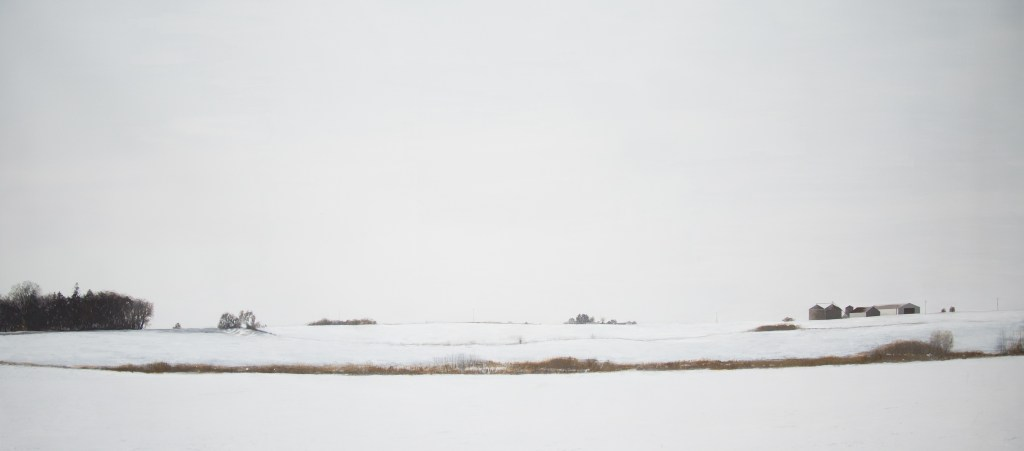 Teo Nguyen's large-scale painting of a rural, snowy farm scene under a vast overcast sky.
