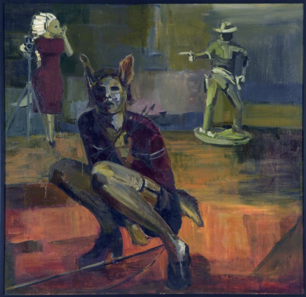 At the foreground is a half-human, half-coyote figure crouching and holding arrows, a bow at their feet. Behind this figure is a second coyote figure adorned in a red dress operating a camera while a life-size, plastic cowboy figurine aims a gun. The bottom of the image is washed in reds and browns, and the background is washed in greens and blues.