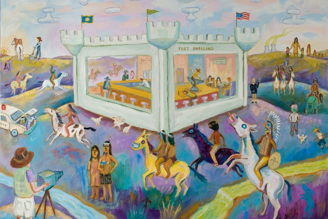 "Painter Jim Denomie's ""Attack on Fort Snelling Bar and Grill,"" which he describes as ""a visual story about some of the historical events concerning the state of Minnesota and the Ojibwe and Dakota tribes within its boundaries since the 1862 Dakota War."" A number of figures are featured in the painting—a white farmer eating grass, an Indigenous person on a horse riding off into the sunset, a white cameraman taking photos of an Indigenous couple."