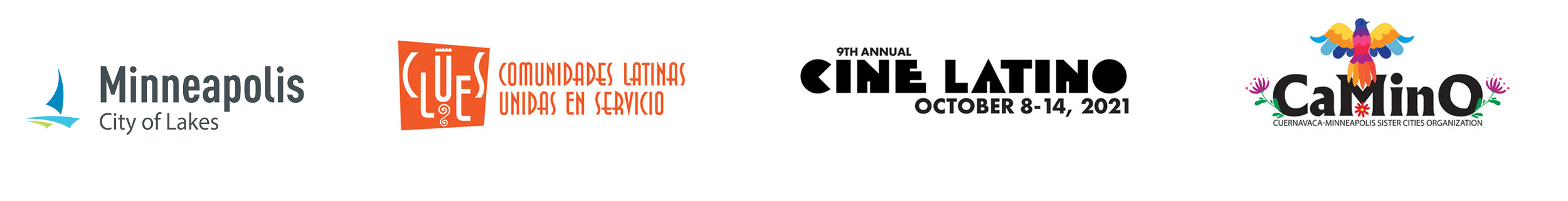 Logo acknowledgements for the City of Minneapolis, Clues, Cine Latino, and Camino