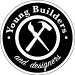 Logo for Young Builders and Designers, symbol of a paintbrush and hammer at the center