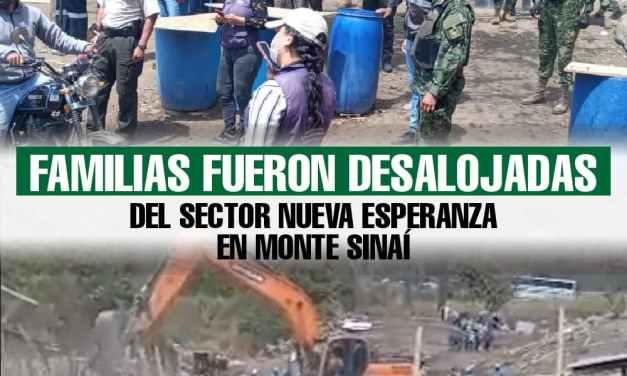 Familias fueron desalojadas del sector Nueva Esperanza en Monte Sinaí