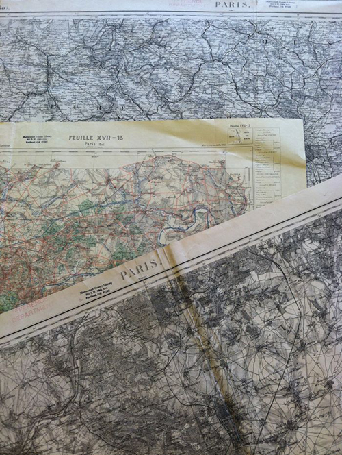 The three Paris maps, all more than 100 years old.