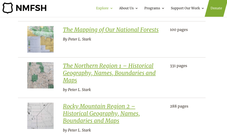 Screenshot of Peter's work on National Museum of Forest Service History website.