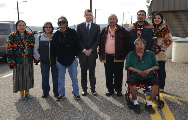 Members of the Wanapum with Acting Assistant Secretary of Environmental Management, Mark Whitney, after signing the MOU securing Wanapum continued and future access to the Columbia River Corridor on the Hanford Site. (April 2015)