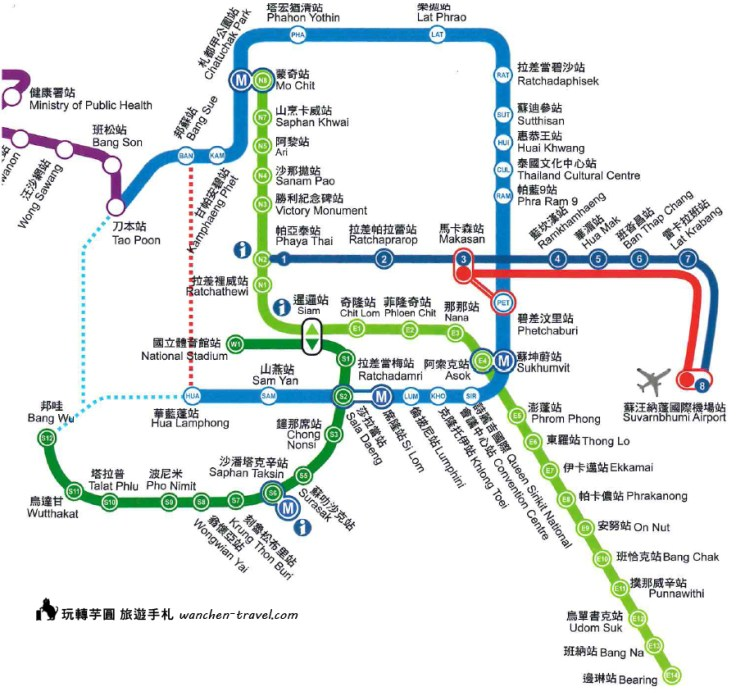 泰國觀光局 曼谷捷運交通地圖