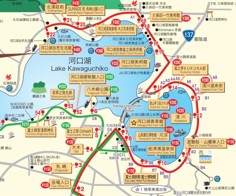kawaguchiko-bus-map