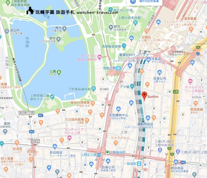 sushiro-ueno-map