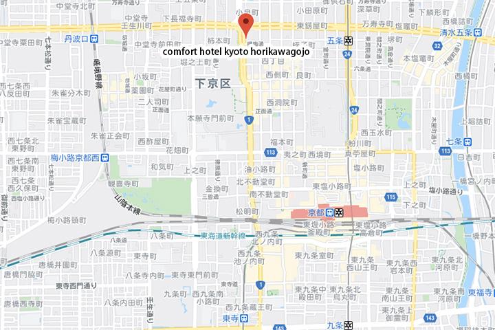 comfort-hotel-kyoto-horikawagojo-map