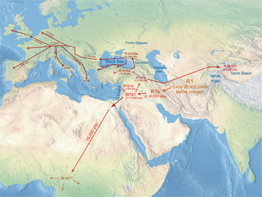Historical migrations of R1b until 3200 years before present