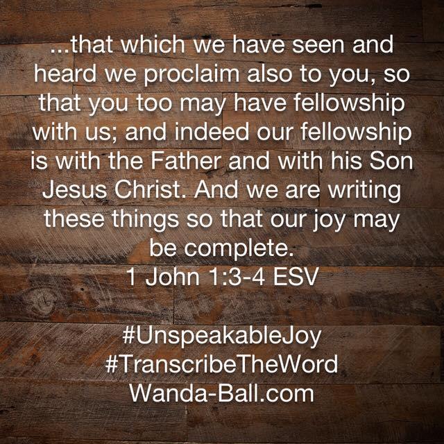 unspeakable joy 1 john 1:3-4