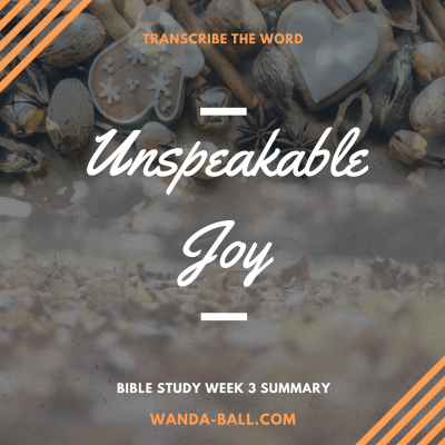 Transcribe The Word: Unspeakable Joy – Bible Study Week 3 Summary