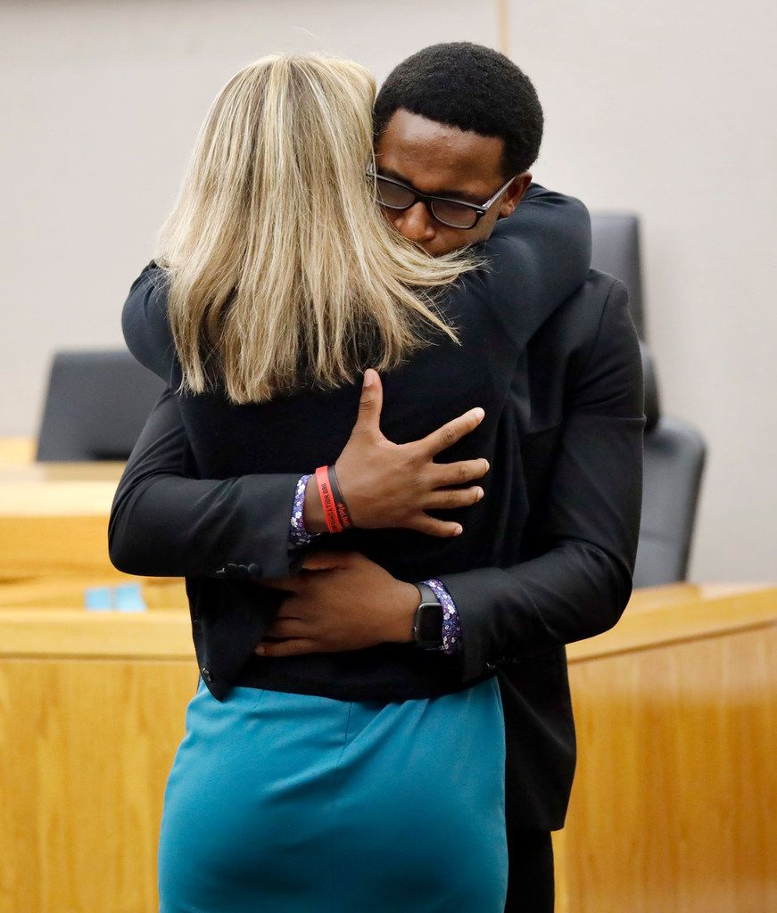 Brandt Jean hugs and forgives Amber Guyger