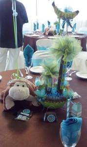 The other table centerpiece in blue.