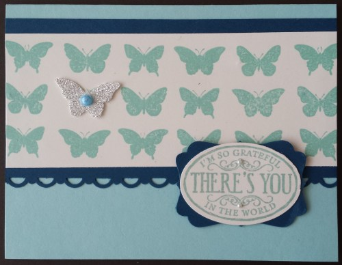 I used the Butterfly collection wheel by snipping it off the wheel. This card was inspired by Stamping School.