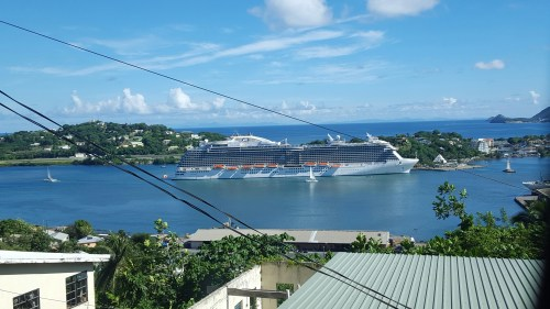 This is a view of our ship from one of our excursions.