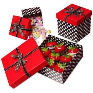 Red Top Polka Dot Box With Ribbons
