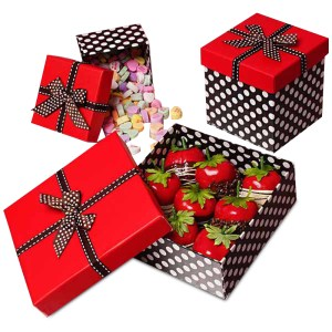 Red Top Polka Dot Box With Ribbons