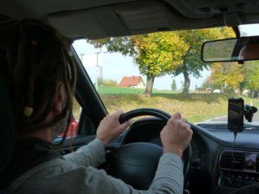 Driving to Masurian lakes.