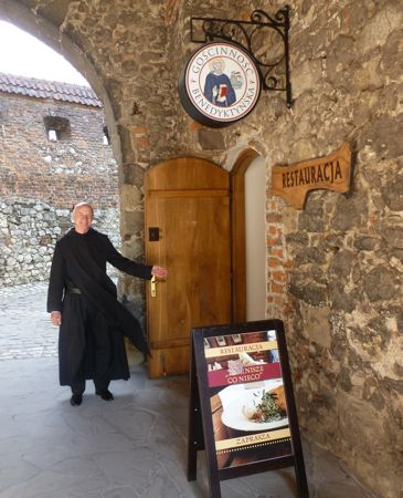 Father Zygmunt Galoch at the Benedictine abbey restaurant.