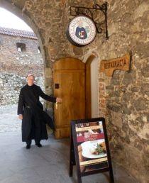 Father Zygmunt Galoch at the Benedictine abbey restaurant.