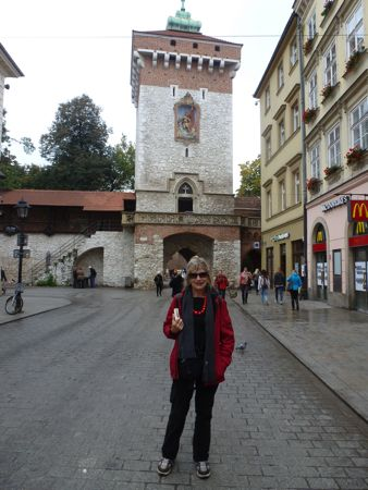 The author in Krakow near the Florian gate and outside Jama Michalika.