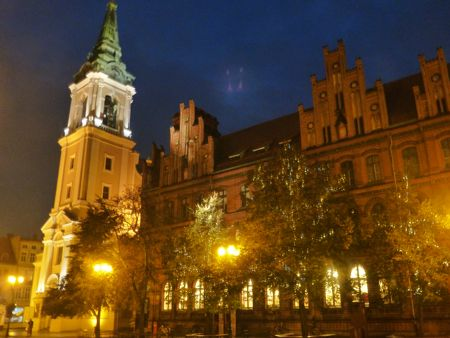 Old town Torun at night.