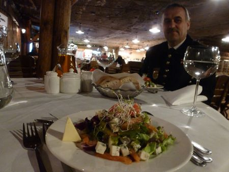 Salt mine salad at Wieliczka's underground restaurant.