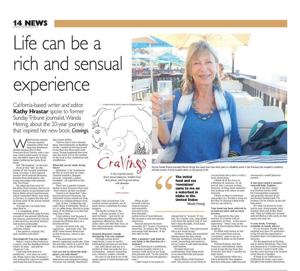 Author interview: Sunday Tribune.