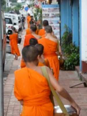 The monks alms parade Luang Prabang.