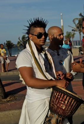 Drumming at the Festival of Chariots in Durban.