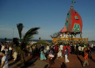 Easter parade in Durban sees Hare Krishna chariots.