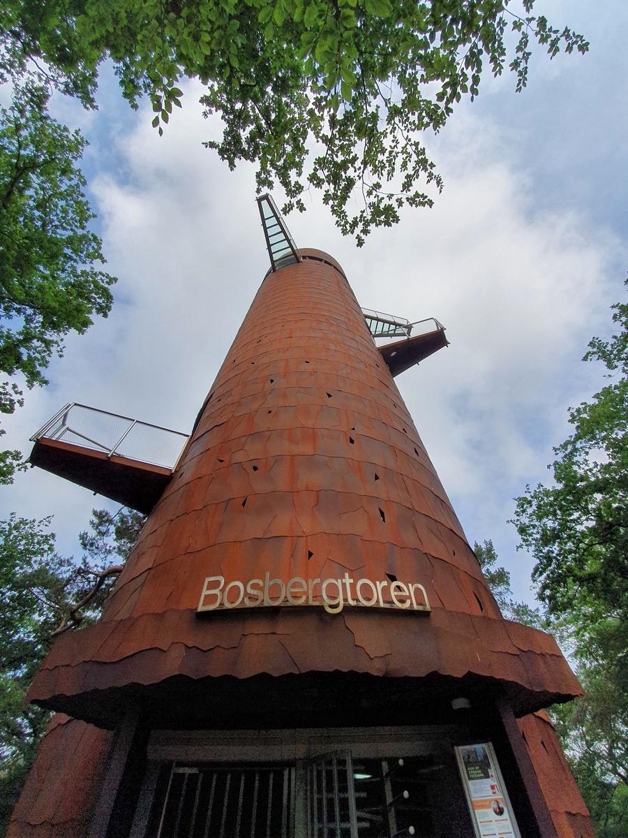 De bosbergtoren van onder gefotografeerd