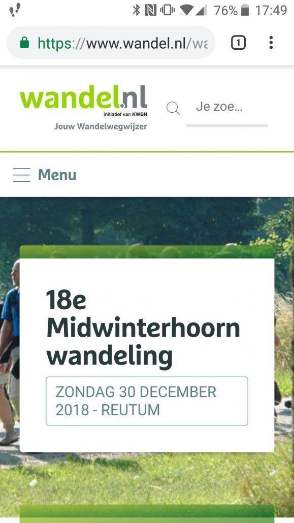 Staat genoteerd  18e midwinterhoorn wandeling Reutum