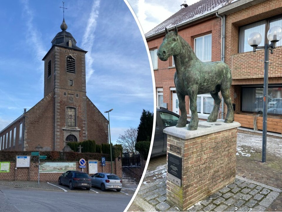 Kerk en Vlaams Brabant trekpaard in Vollezele