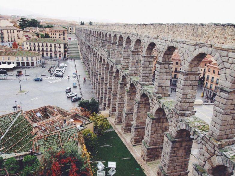 The stone aqueduct in Segovia, Spain.